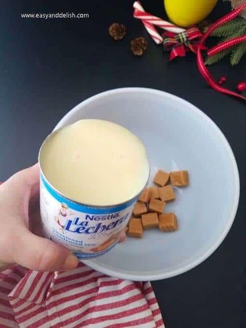 preparing dulce de leche filling for gingerbread cookie bars