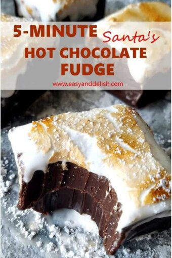 close up of hot chocolate fudge with a  bite