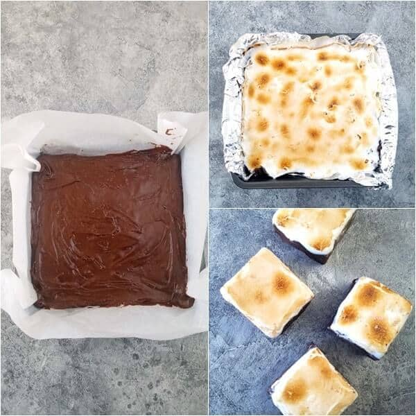 Three combined images showing steps 3 to 5 on how to make hot chocolate fudge
