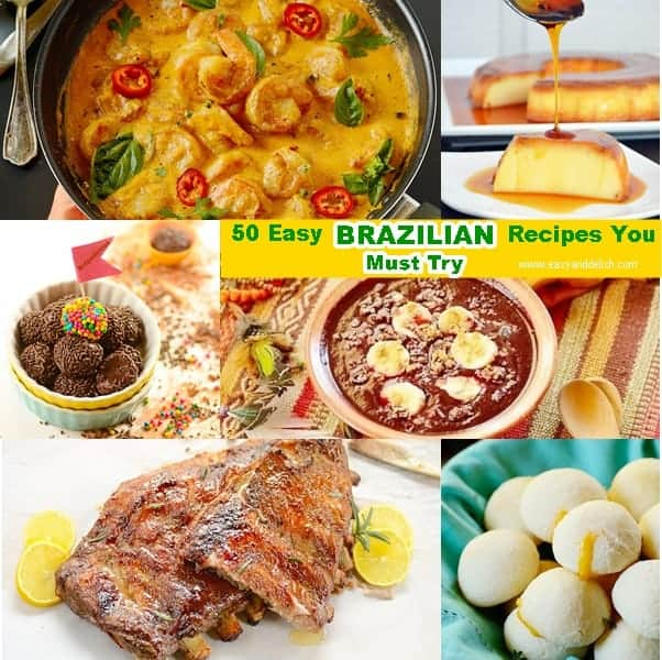A photo collage of easy Brazilian recipes