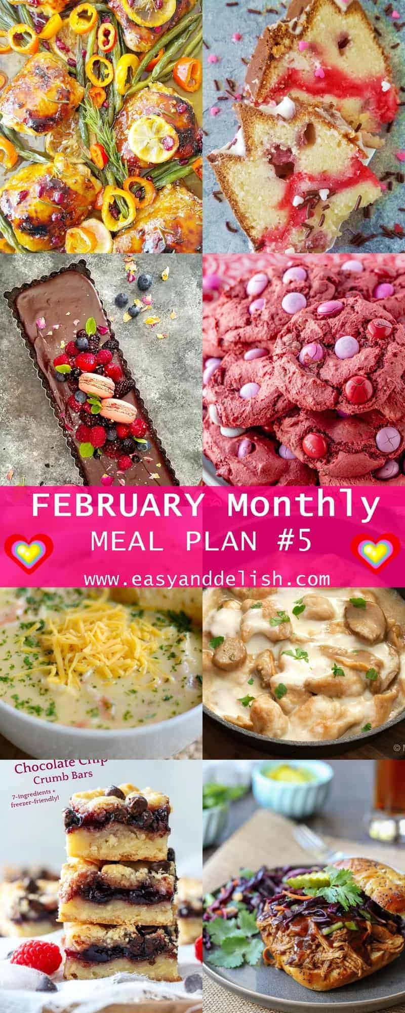 Image showing 8 different dishes from the February Monthly Meal Plan