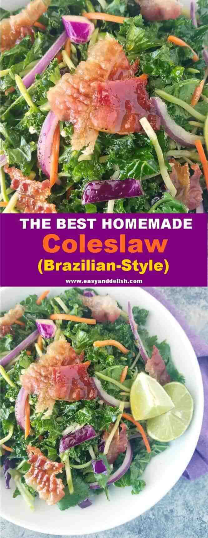Combined images showing close up of homemade coleslaw
