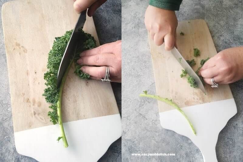 Combined images showing kale being cut on a cutting board for homemade coleslaw