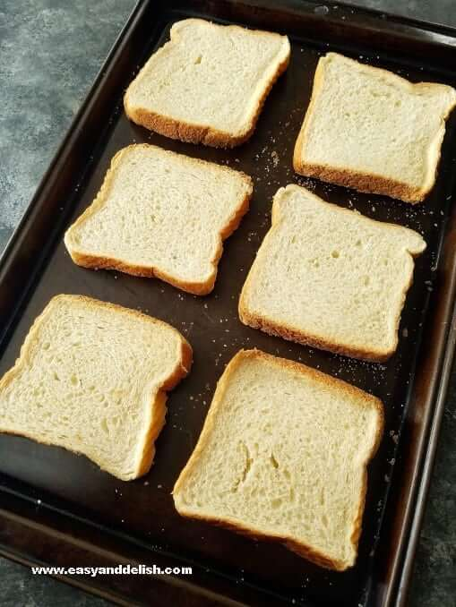 Slices of Texas toast in a baking pan