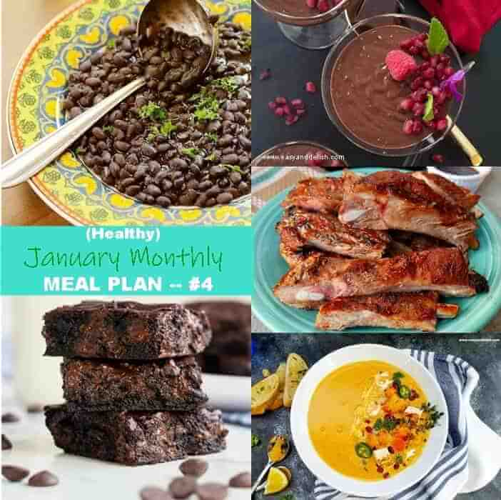 five images showing meals that are in January Monthly Meal Plan