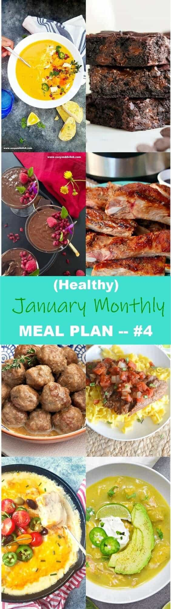 8 images showing some of the dishes that are in January Monthly Meal Plan.