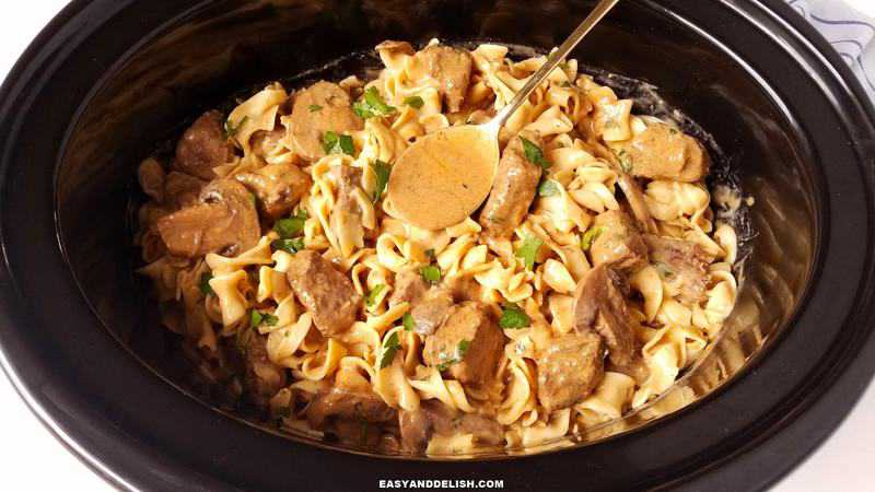 noodles mixed with beef stroganoff
