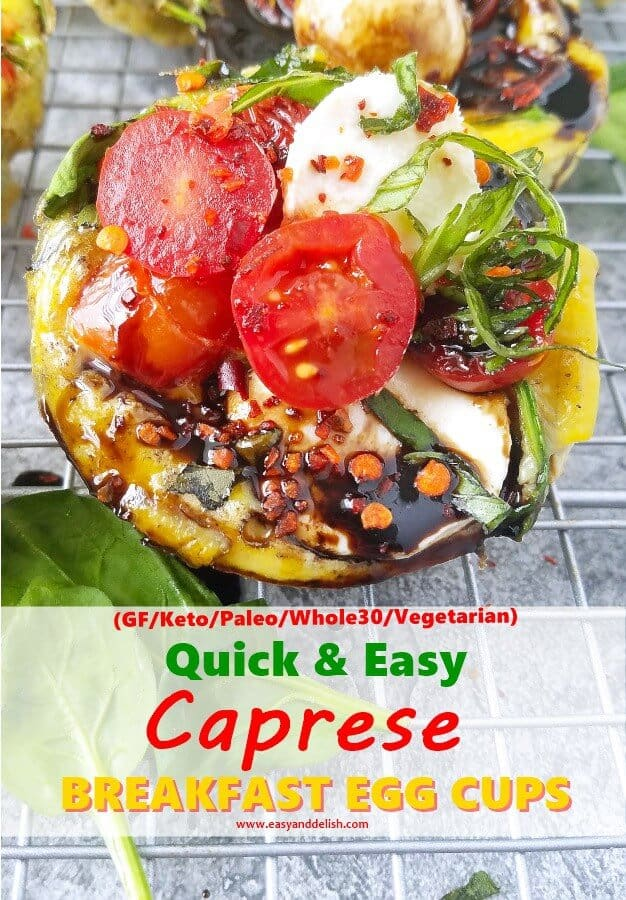 Close up image of Caprese Breakfast Egg Cups