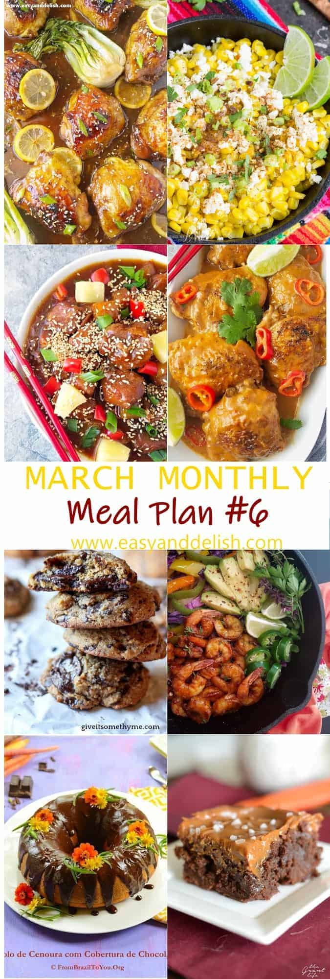 8 combined images showing dishes from March monthly meal plan