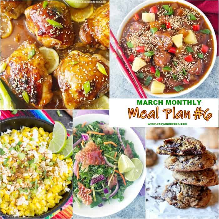 5 combined images showing dishes from March monthly meal plan