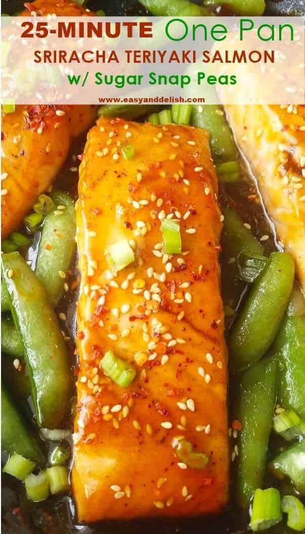 close up image of sriracha teriyaki salmon with snap peas