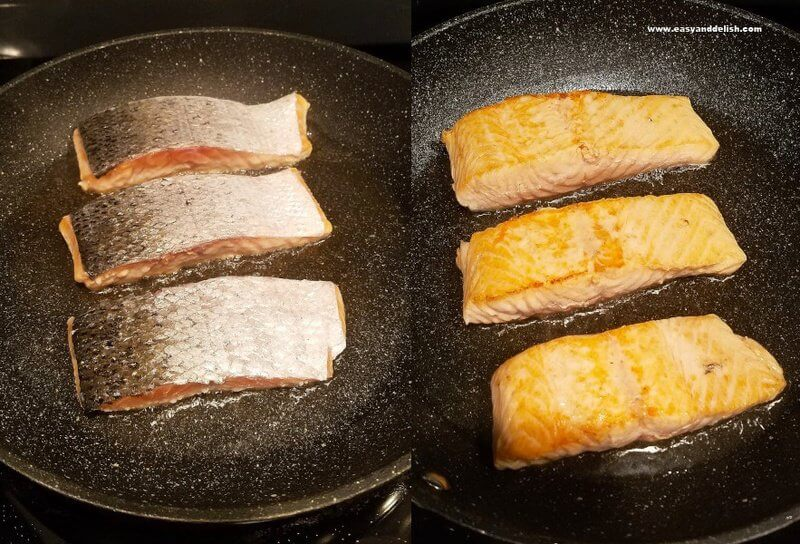 2 combined images showing sriracha teriyaki salmon being cooked (skin side up and down)