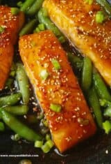 25-Minute One Pan Sriracha Teriyaki Salmon with Snap Peas