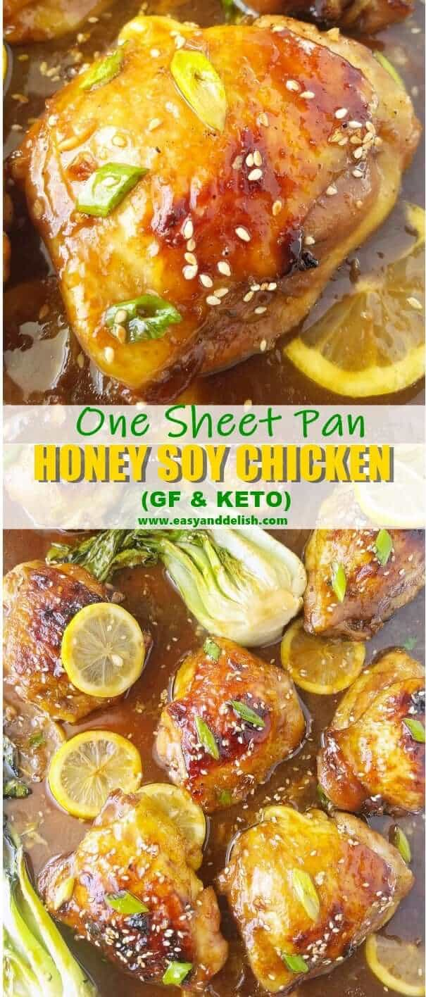 Two combined close up images showing honey soy chicken thighs cooked in a sheet pan