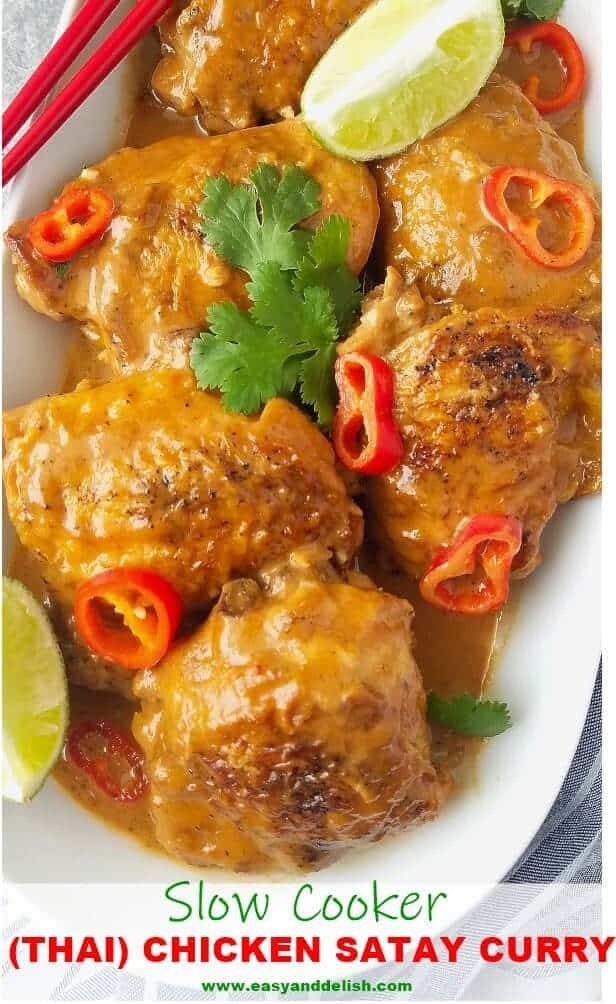 Close up iamge of chicken satay curry in a platter with garnishings