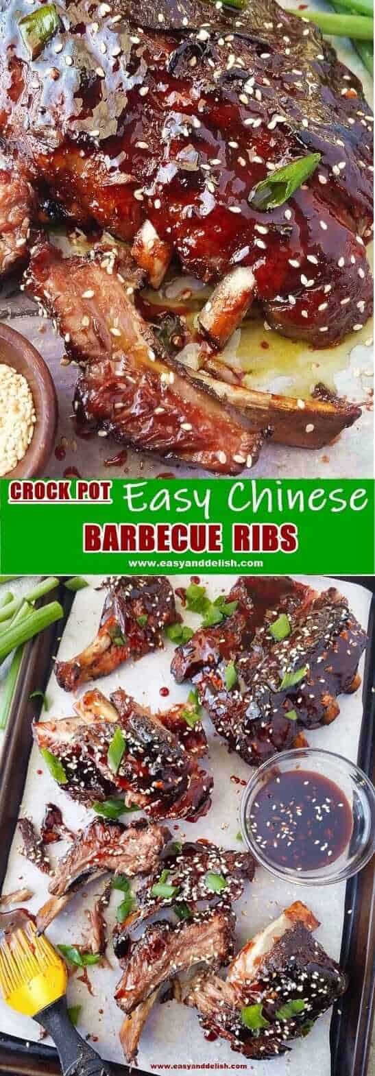 Two close up images showing Chinese barbecue pork ribs served in a pan