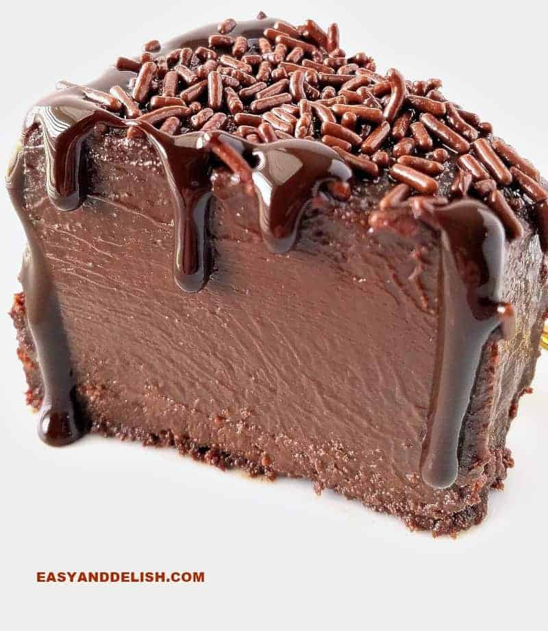 A luscious slice of brigadeirao Brazilian chocolate fudge flan