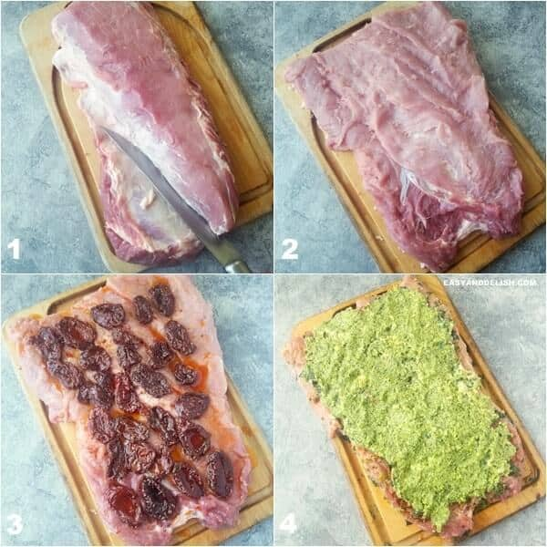 Four photo collage showing how to butterfly and stuff pork loin