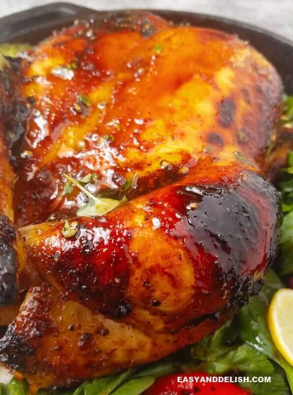 close up showing roast chicken adobo drumstick