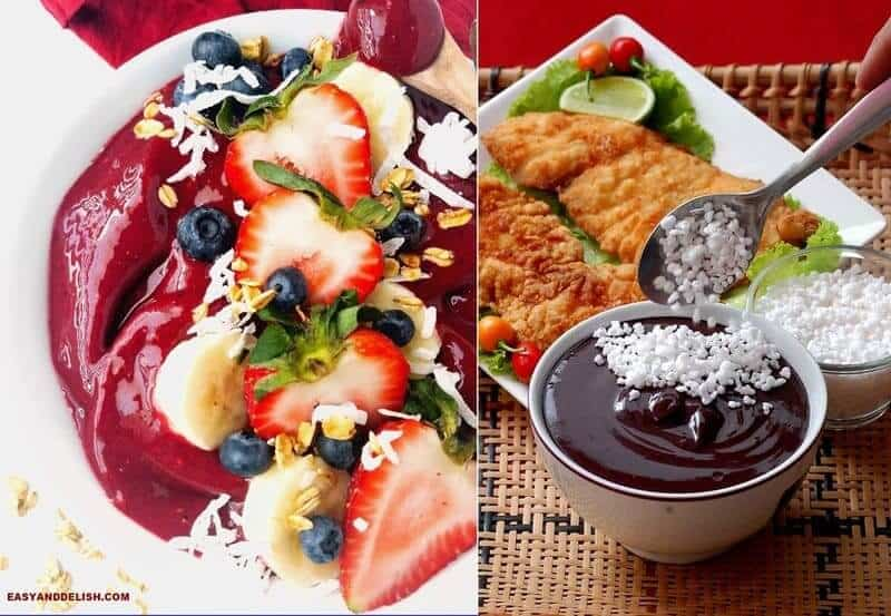 Photo collage of 2 acai bowl, one with fruits on top and the other with tapioca on top and fish in the background