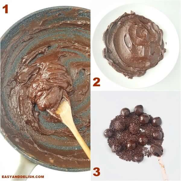 collage with 3 images showing how to make brigadeiro