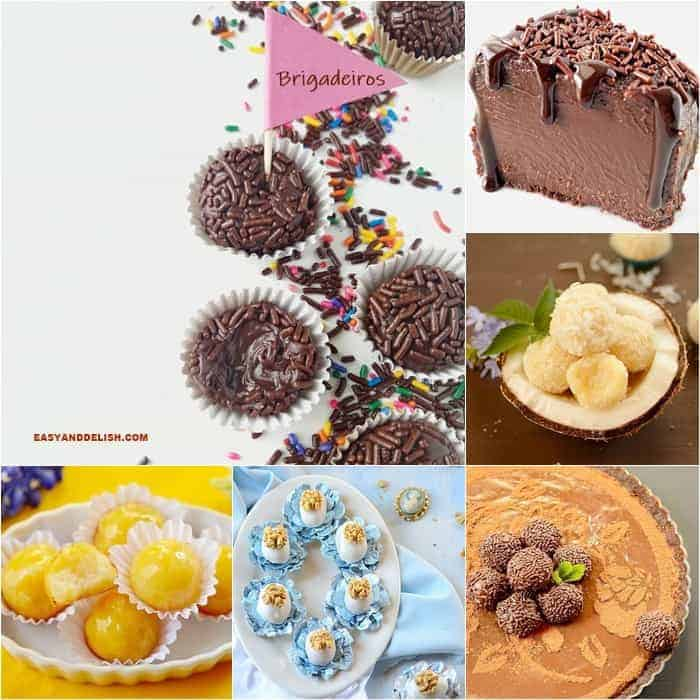 Several different types of desserts made with brigadeiros