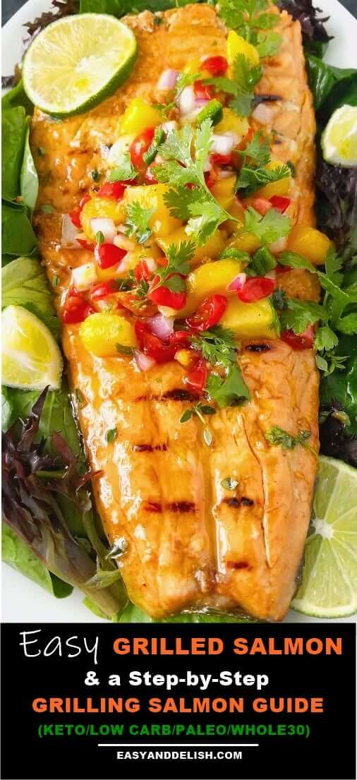 Close up image of grilled salmon topped with Caribbean salsa