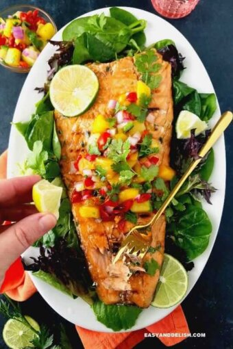 easy grilled salmon in a platter