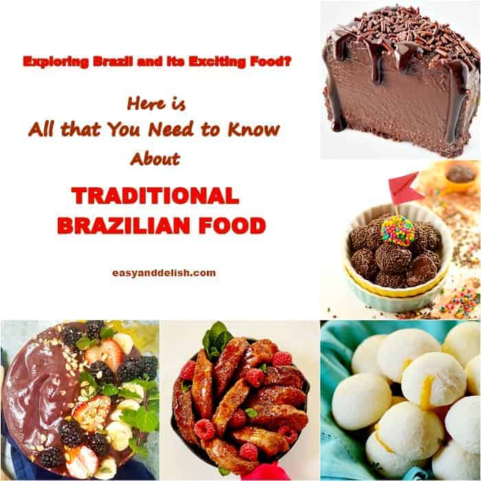 Traditional Brazilian dishes in a photo montage, including from right to left:: acai bowl, rabanada, pao de queijo, brigadeiro, and brigadeirao.