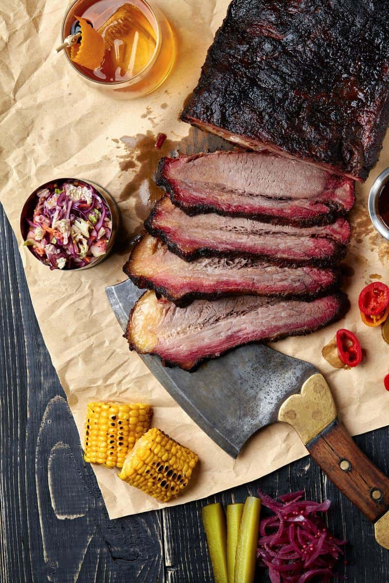 smoked brisket sliced with sides