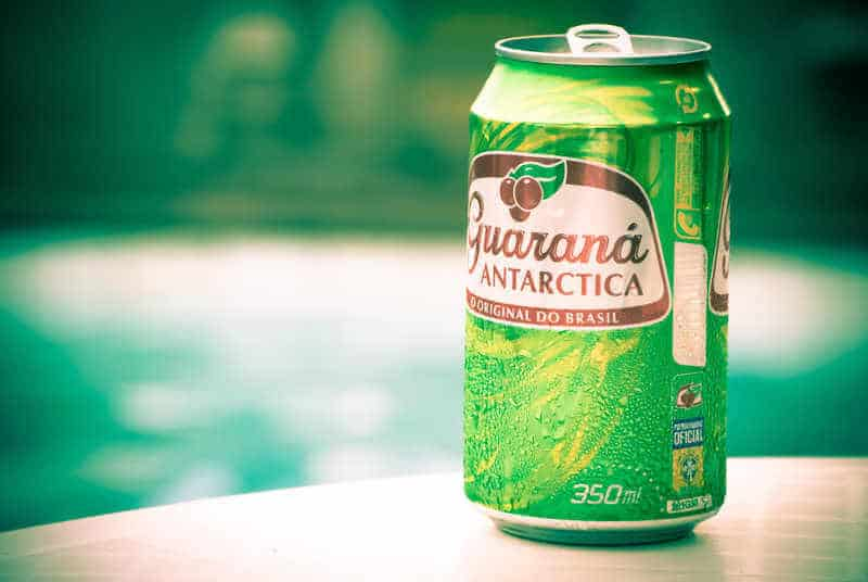 Green and red aluminum can of Antartica guaraná carbonated soft drink