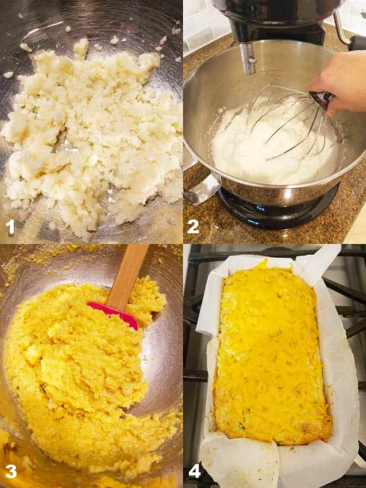 2 compiled images of how to make cauliflower bread recipe