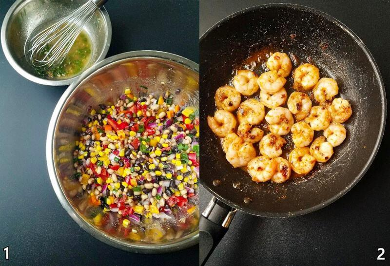 two images: one with Texas caviar dip in a bowl and the other with shrimp cooked in a skillet