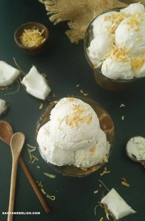 coconut ice cream in coconut bowls