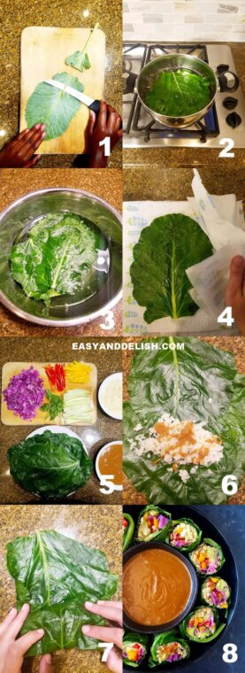 pictorial of collard green wraps with 8 steps