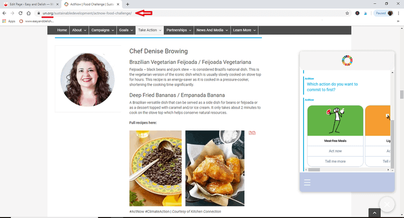 United Nations featuring Denise Browning's Brazilian recipes on their website