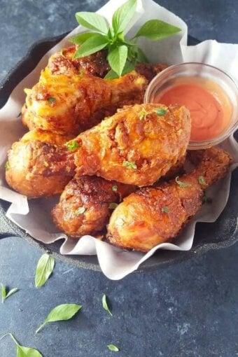 Fried chicken served in a skillet