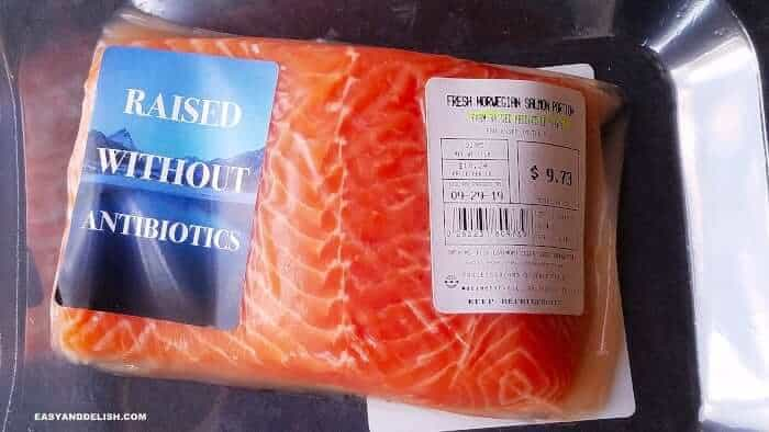 Norwegian salmon in a package with label