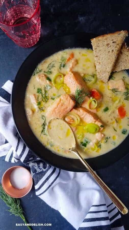 fish soup served with bread