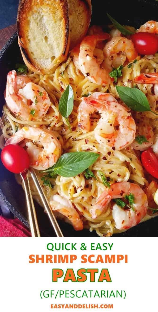 close up image of shrimp scampi linguine pasta recipe