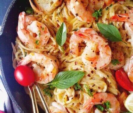 One Pot Shrimp Scampi Pasta Recipe Easy And Delish