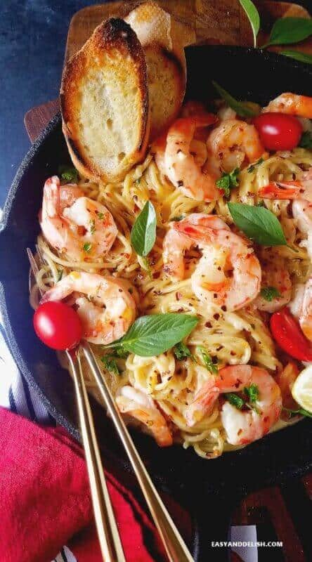 shrimp scampi pasta recipe served in an skillet