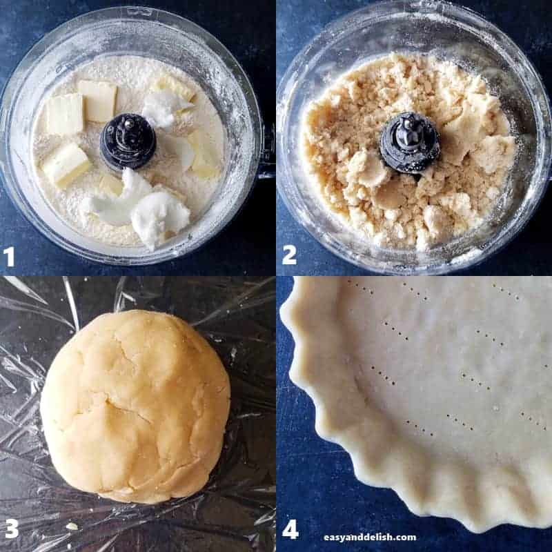 4 collage images showing process on how to make pie dough
