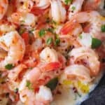 creamy shrimp scampi in a skillet