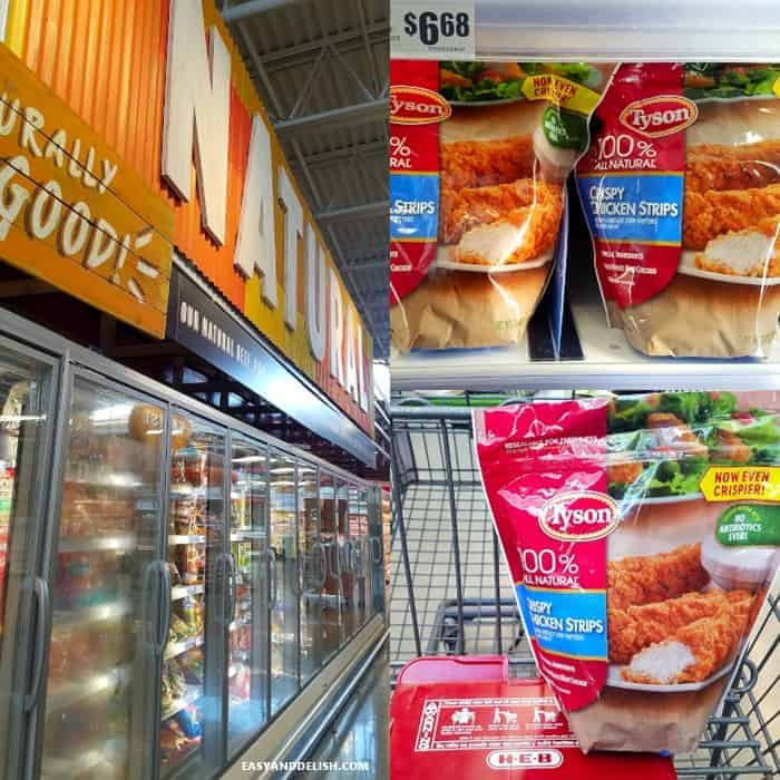 HEB supermarket aisle showing where Tyson Crispy Chicken Strips are availale