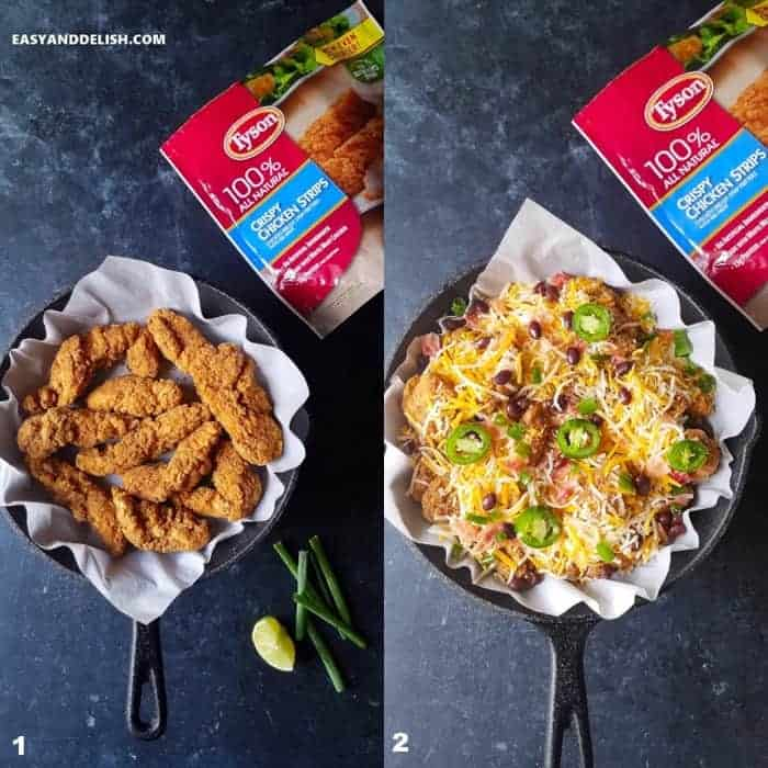 two photo collages showing how to make loaded chicken nachos recipe