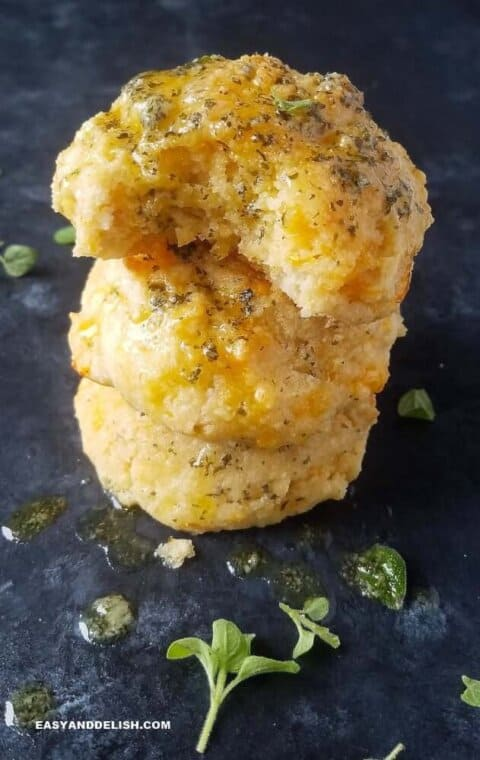 piled up keto biscuits