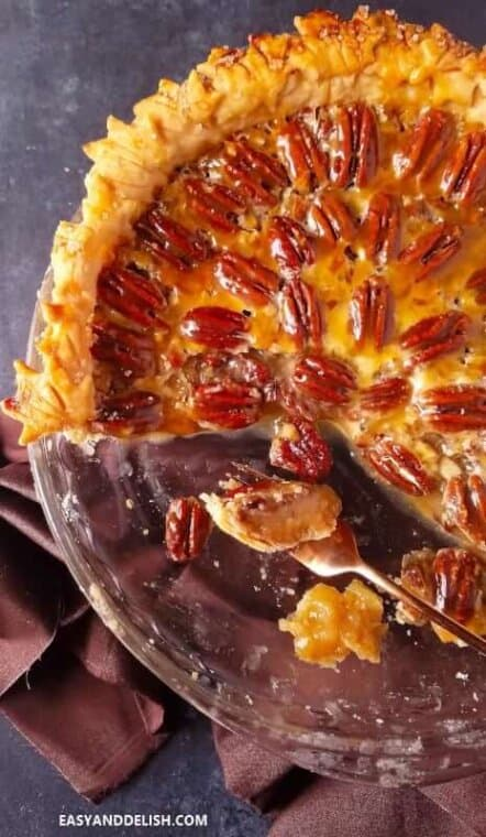 Best pecan pie sliced showing set filling