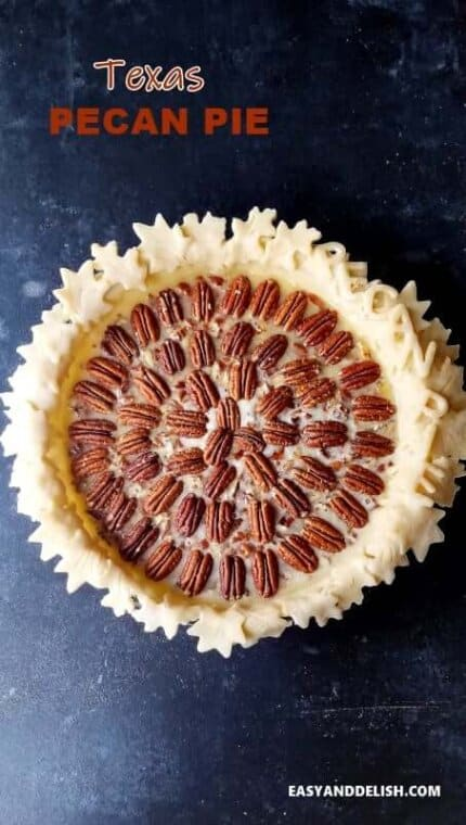 Texas pecan pie over a table
