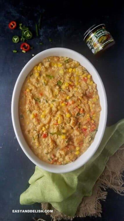 cornbread casserole mixture in a baking dish before baking